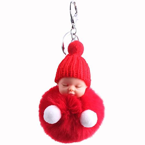 Zeagro Schlüsselanhänger aus weichem Plüsch, süßer Charm, Schlüsselanhänger, Kunstfell, flauschiger Pompon, Schlüsselanhänger, Dekoration, 1 Stück (rot)