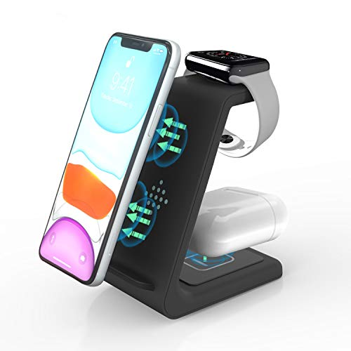 ZHIKE 3 in 1 Caricatore Wireless, Qi 10W a Ricarica Rapida, Caricabatterie Senza Fili Docking Station per Apple Watch Series 6/5/4/3/2/1, iPhone SE2/ 11 PRO Max/11/XS/XR/Huawei, Samsung, AirPods PRO
