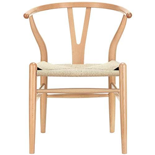ZZFF Mid Century Silla De Comedor De Madera,Silla Wishbone Silla De Salón Rattan Armchair Y Chair Kitchen para Silla De Comedor Cafe Livingroom Natural 55x53x77cm(22x21x30inch)