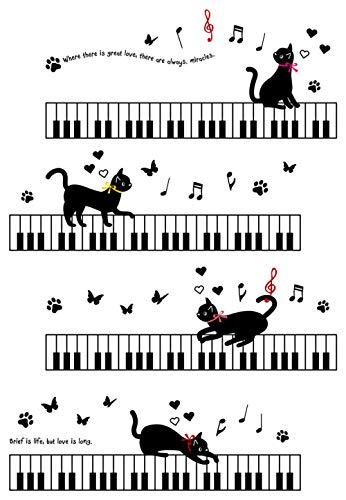 SUNER-EUR Cartoon muurstickers op de piano sleutels, kat decoratie, kinderkamer, kleuterschool deur stickers, raamstickers