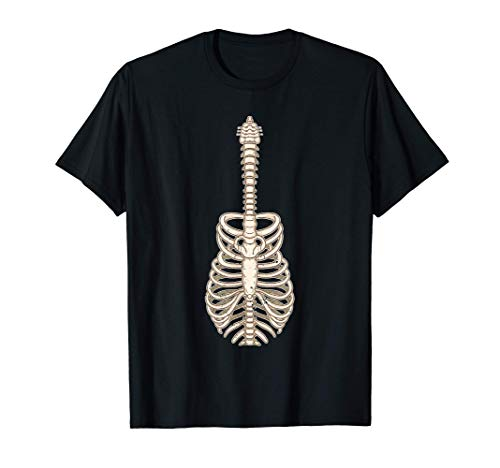 Divertido Guitarrista Esqueleto Jaula de Costillas Guitarra Camiseta