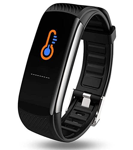Saimly Fitness Tracker, Smartwatch impermeabile IP67, braccialetto fitness con misurazione della temperatura, cardiofrequenzimetro, schermo a colori, contapassi, orologio intelligente per donna
