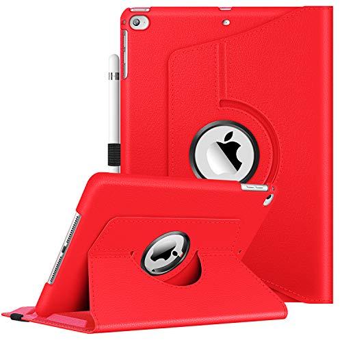 FINTIE Étui de Protection en Cuir avec Support Rotatif à 360° pour iPad Air et iPad 5 5e génération avec Fonction de Mise en Veille Automatique et réveil Rouge