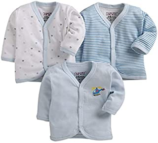 BUMZEE Blue Front Open Full Sleeves T-Shirt for Baby Pack of 3-0 - 3 Months