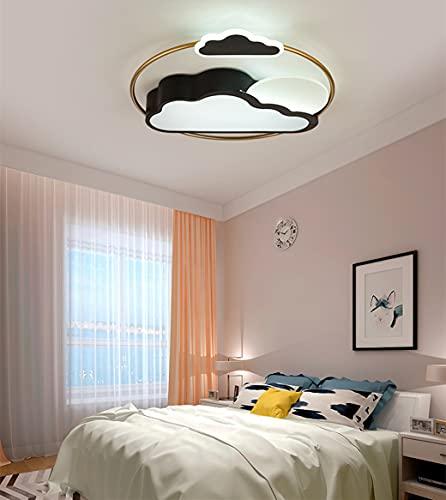 MZT Luz de decoración de Nube Creativa Luz de Techo LED de atenuación Continua Luz de Techo Infantil Acrílico Alta transmisión de luz,Negro