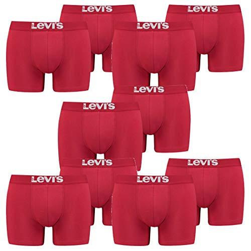 10er Pack Herren Levis Solid Basic Boxer Brief Boxershorts Unterwäsche Pants, Farbe:186 - Chili Pepper, Bekleidungsgröße:XXL