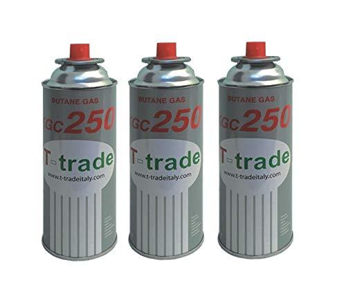 Hoge kwaliteit 3 stuks - cartridge gaspatroon GPL 250 g art. KCG250 ideale soldeerbout voor open haard of oven, geschikt voor kamperen, Brunner