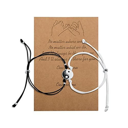 Cheerslife 2 piezas yin yang pulsera joyería cuerda cordón ajustable amuleto de la suerte joyería trenzada hecha a mano para mejor amigo regalo para pareja madre hija