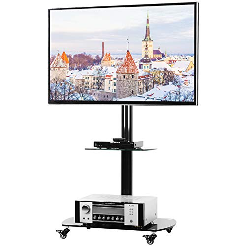 5Rcom Rolling TV Cart Mobile TV Stand with Lockable Caster Wheels and Tempered Glass Shelves for 37 37 42 47 50 55 60 65 70 inch TVs Floor TV Stand Portable with Swivel Mount,Height Adjustment