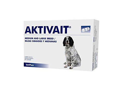 VetPlus Aktivait Blister con 60 Comprimidos de Suplemento contra el Envejecimiento Cerebral de Perros Razas Grandes ✅