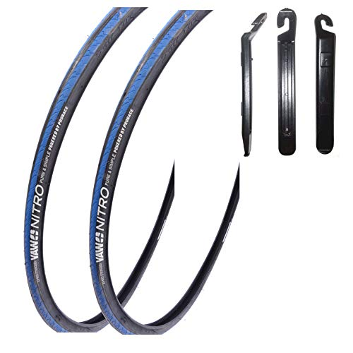 "maxxi4you Angebots - Set / 2 x Yaw Nitro 28\"" Rennradreifen 23-622 (700x23C) blau schwarz blau inkl.3 Reifenheber"