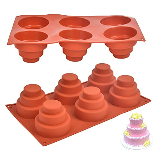 Mini Cake Silicone Pan, 6 Cavities 3 Tiered Cupcake Mold DIY Round Cupcake Pudding Cookie Chocolate Baking Pan Nonstick Homemade Baking for Christmas, Birthday, Wedding Party (Set of two)