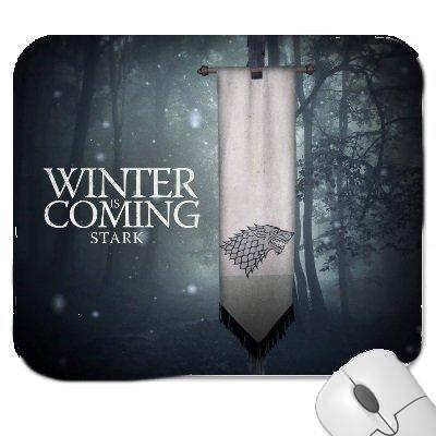 Un juego de tronos #2 alfombrilla de ratón con la redacción llega el invierno Stark.. Ratón de goma Felpudo tacto suave