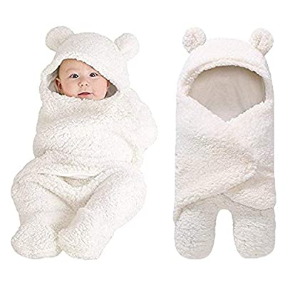 XMWEALTHY Cute Newborn Baby Boys Girls Blankets Plush Swaddle Blankets White from XMWEALTHY