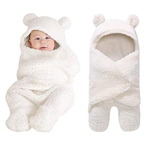 Baby-Wickeltuch für Neugeborene, Jungen, Mädchen, süßer Baumwollplüsch, mit Kapuze, Schlafsack, Pucksack (weiß)