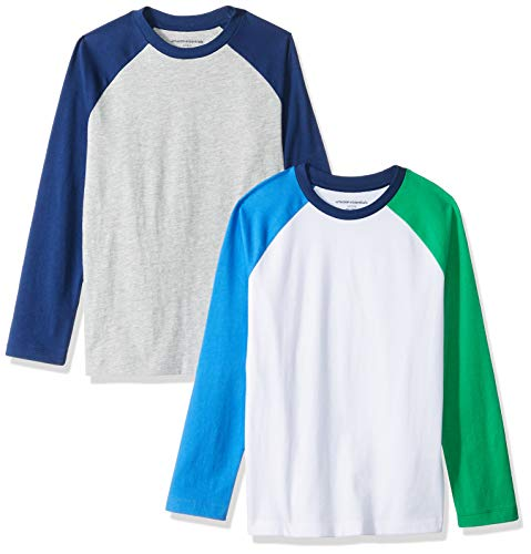 Amazon Essentials Jungen 2er-Pack Raglan-T-Shirt, Langarm, Grey/Colorblock, US L (EU 134-140 CM)
