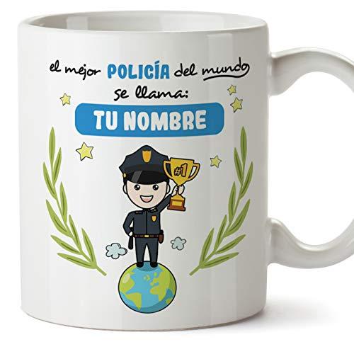 MUGFFINS Policía Tazas Originales Personalizadas con tu Nombre de café y Desayuno para Regalar - Esta Taza Pertenece al Mejor policía del Universo - Cerámica 350 ml - Personalizable café y Des
