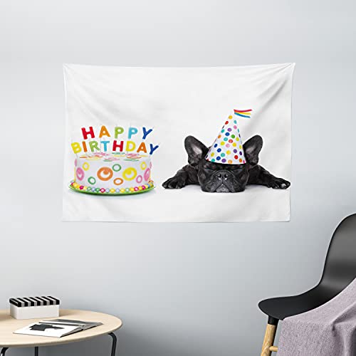 Ambesonne Birthday Party Tapestry, Sleepy French Bulldog Party Cake with Candles Cone Hat Celebration Image, Wide Wall Hanging for Bedroom Living Room Dorm, 60' X 40', Black Rainbow