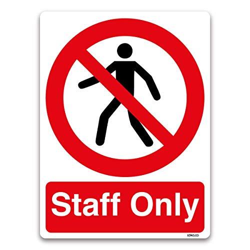 Stika.co, segnale adesivo per ufficio con scritta in inglese 'Staff Only', 150x 200mm