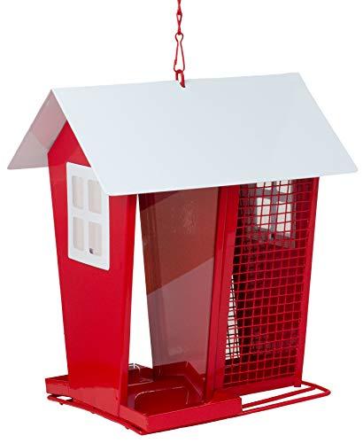 B2S BACK2SEASON Futterhaus mit Dach Metall Rot weiß Hängen Vogelhaus Futterstation