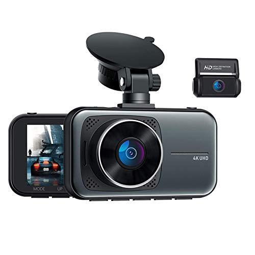 Grabadora de coche con ventosa oculta, lentes duales delanteros y traseros 4K HD, gran angular de 170 grados, cámara de salpicadero DVR para coche, visión nocturna HD, detección de colisiones,