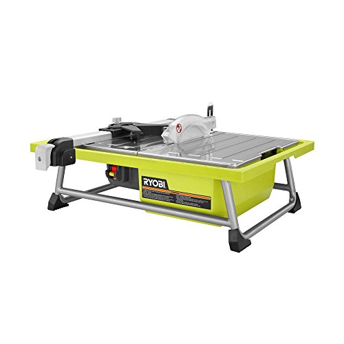 Ryobi WS722 7 Inch 4.8 Amp Portable Tabletop Wet Tile Saw with Miter Guide and Induction Motor (Non-Retail Packaging)