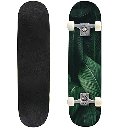 """Green Leaves of Plant Growing Tropical rain Forest Plant Abstract Skateboard 31""""x8"""" Double-Warped Skateboards Outdoor Street Sports Skateboard for Beginners Professionals Cool Adult Teen Gifts"""