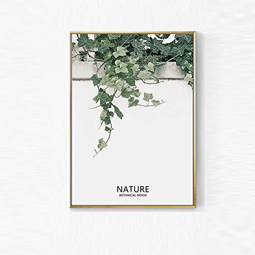 Planta de Hoja Verde Planta nórdica Naturaleza Impresión de Arte Lienzo Pintura Decoración para el hogar Arte de la Pared Dormitorio Decoración de la Sala Cartel (Sin Marco)