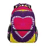 WowPrint Rainbow Tie Dye Heart - Mochila para el hombro, escuela, senderismo, viajes, mochila informal
