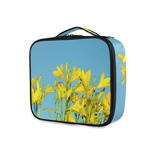 Trousse de Maquillage de Voyage imperméable détachable avec Fleur de lys Jaune Bleu Ciel