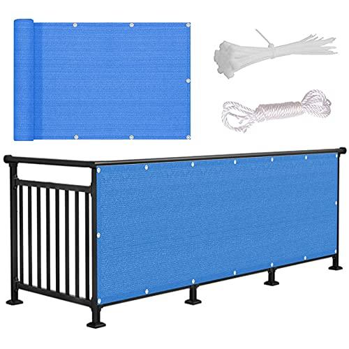 HLLING Balcón Pantallas Protectoras Balcón Sombrilla para Patio Vallas Sitio De Construcción Protección UV HDPE 200g/m2 Protector De Privacidad (Color : Blue, Size : 120x900cm)