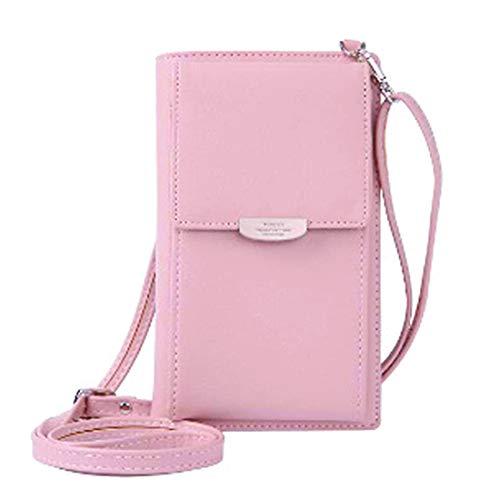 Pequeña bolsa bandolera rosa para teléfono móvil, tarjetero, monedero, mini bolsa con correa ajustable para mujeres y niñas