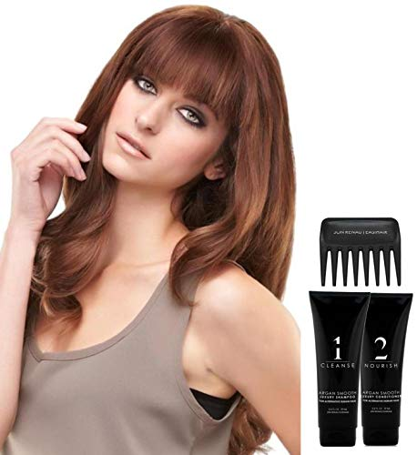 Bundle - 5 Item: EasiFringe Remy Human Hair by Jon Renau, Christy's Wigs Q & A Booklet, Argan Luxury Shampoo & Conditioner & Wide Tooth Comb - Color: 8_30