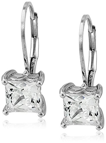 La Lumiere Platinum Plated Sterling Silver Made with Cubic Zirconia from Swarovski Princess-Cut Lever Back Earrings (2.5 CTTW)