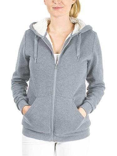 Heinside Damen-Pullover, modisch, glänzend, Samt, dick, mit Kapuze, warm, lässig, bedruckt mit Pardè (Farbe: Grey, Größe: M)