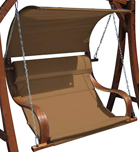 ASS Design Sitzbank für Hollywoodschaukel aus Holz Lärche inkl. Dach MERU BRAUN ohne Gestell