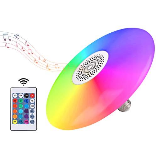 Lámpara de techo de 48 W con altavoz Bluetooth de 22,8 cm, 6500 K, 110 V, RGB multicolor, con mando a distancia, 1400 lm, sonido de música, lámpara de techo para dormitorio