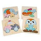 MaoXinTek Puzzles en Bois pour Enfants 4 Pièces 3D Animale Shape Puzzel Jouets Educatif Montessori pour Garçons Filles de 2 3 4 5 Ans