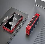 Energía Solar Cargador De Banco De Energía Paquete De Batería Inalámbrico Portátil Cargador De 80000Mah Banco De Energía Carga Rápida Batería Externa Móvil De Emergencia,Rojo