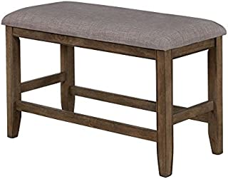 Manning Grey Fabric Counter Height Bench by Crown Mark