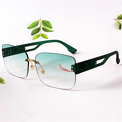 Gafas Sol De Hombre Mujer Polarizadas Sunglasses Gafas De Sol Rectangulares Sin Montura para Mujer, Gafas De Sol Verdes con Gradi