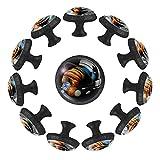 12 pomos de cristal de 35 mm para aparador, planetas, júpiter, tierra, Saturno, forma de círculo, tiradores de cajón con tornillos para oficina en el hogar