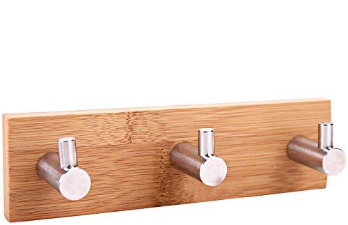 Perchero de pared autoadhesivo para toalla, puerta de bambú y acero inoxidable 304 para abrigo, cinturón, llaves, auriculares, etc.