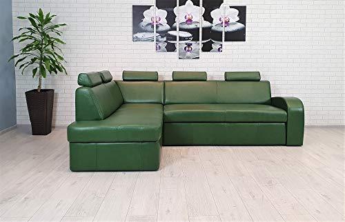 Antalya II 5z - Sofá esquinero de piel auténtica, color verde, 245 x 164 cm, con función de dormir, con cajón y reposacabezas, color verde envejecido (esquina izquierda)
