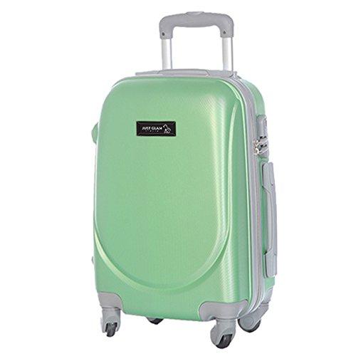 Trolley da cabina bagaglio a mano cm.55 valigia rigida 4 ruote in abs policarbonato antigraffio e impermeabile compatibile voli lowcost come Easyjet Rayanair art 6802 / grande verde