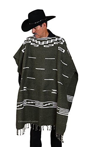 Handwoven Clint Eastwood Spaghetti Western Poncho Made in Mexico (Olive Green)
