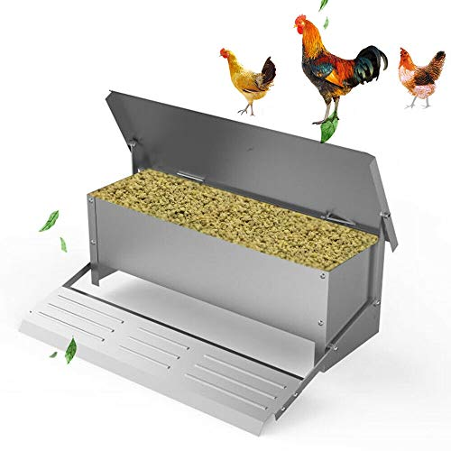 Chicken Feeder Automatic 22lbs (10kg) Capacity Trough Feeds 8-14 Poultry/Fowl Up to 10 Days Keeps Dry with Spill Proof Galvanized Steel Bird Prevention for Chickens, Pheasants, or Roosters
