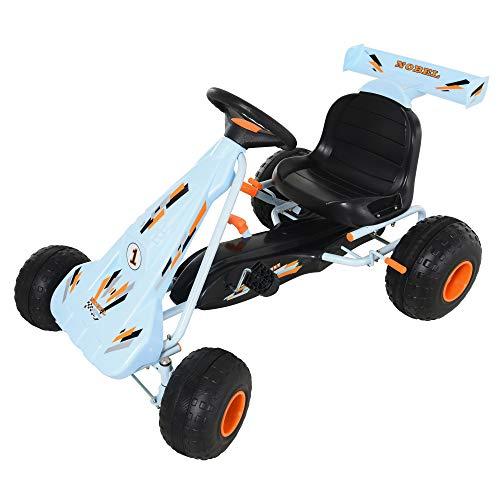 HOMCOM Go Kart Kinderfahrzeug Tretauto mit Pedal Bremsen Kinderspielzeug für 3-8 Jahre Stahl Hellblau 97 x 66 x 59 cm