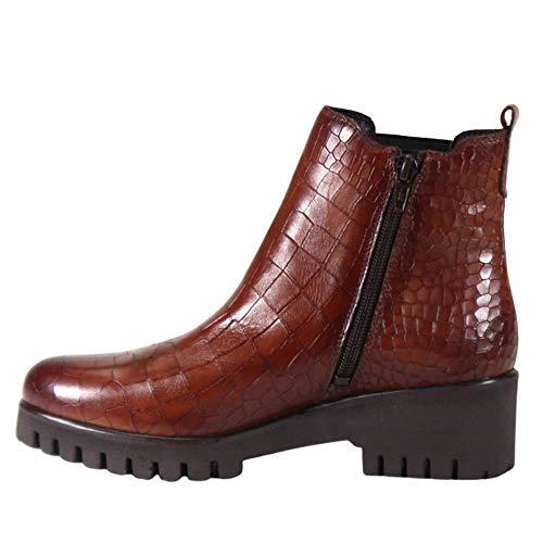 Diba True Women's RED Wheel Genuine Leather Crocodile Embossed Combat Chelsea Boot (Cognac, 6)