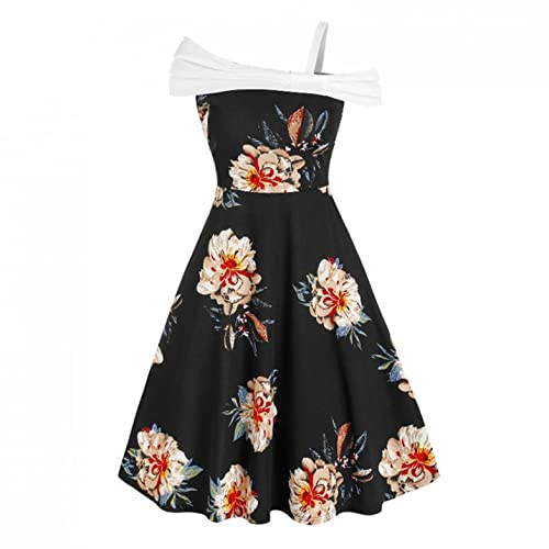 Damen Kleider Frauen Vintage Retro Blumen Drucken Prinzessin Abendkleid Hevoiok Kleidung Mode Bodycon Partykleid Ärmellos Prom Swing Kleid...